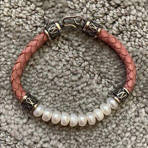 NWOT Ross-Simons Pearl, Silver, & Leather Bracelet